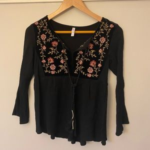 Peplum Top w/ Velvet and Floral Embroidery Detail